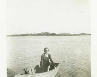 "Vintage Photo ""Typical Saturday Afternoon"" Girl in Boat Snapshot Old Photo Black & White Photograph Found Paper Ephemera Vernacular - 137"