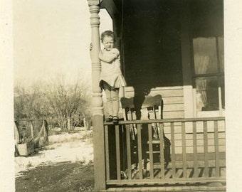 "Vintage Photo ""Front Porch Cutie"" Children Snapshot Photo Old Antique Photo Black & White Photograph Found Paper Ephemera Vernacular - 36"