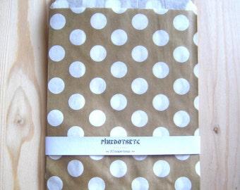 "20 Gold Polka Dot Paper Favor Bags - 5"" x 7"" - 20 pcs - Party Favors, Candy Bags, Wedding Favor Bags, Glassine Paper Bags"