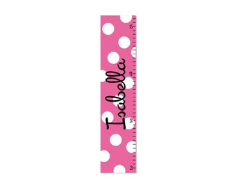 Personalized Growth Chart Children Canvas Growth Chart Polka Dot