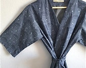 Blue Kimono Robe. Blue Kimono. Blue Bridesmaid Robes. Blue Dressing Gown. Blue Spa Robe. Bathrobe. Knee and Mid Calf Length Available.