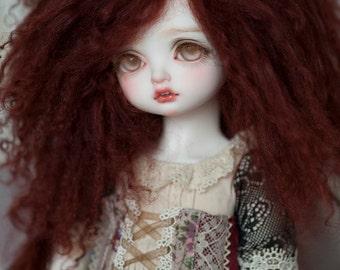 """10in"""" Dark Brown Chestnut Tibetan Mohair Wavy Wig for Volks BJD SD Dolls"""