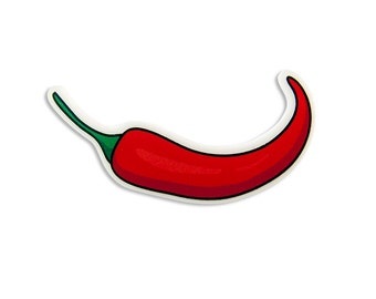 Red Hot Chili Pepper Brooch - Colorful Illustration Quirky Small Pin Mexican Cute Kitschy Retro Laser Cut Perspex Funny