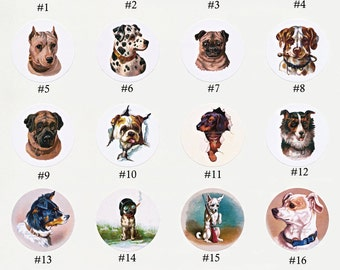 Dog Stickers | Envelope Seals | Set of Eight or All Twenty 1.5 inch Seals - Victorian Dogs