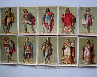 10 Antique French Chromo Cards of Historical Figures Librairie Hachette Printed by Vve Bourgerie & Fils Aine Paris C1880 School Cards