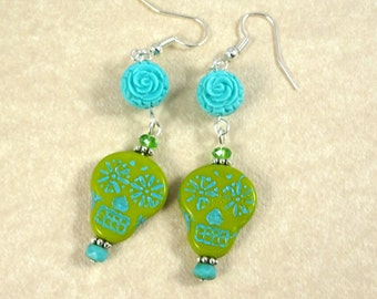 Sugar Skull Earrings - Bright Green Sugar Skulls - Day of the Dead Earrings, Dia de los Muertos - Chartreuse and Turquoise Earrings