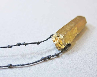 """Raw Stone Jewelry, Quartz Point Necklace, Crystal Necklace, Raw Gemstone Necklace, 32"""", Gold Quartz Necklace, Crystal Point Necklace"""