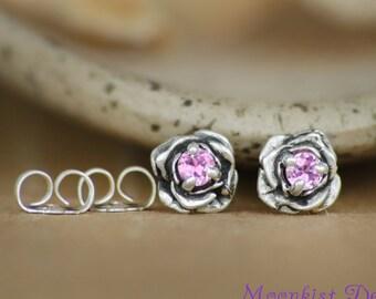 Silver Dainty Pink Sappire Rose Post Earrings - Floral Wedding Sculptured Flower Stud Earrings - Pink Flower Solitaire Silver Earrings