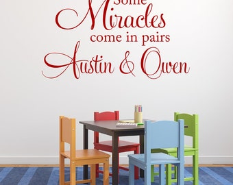 Some Miracles Come In Pairs Twins Wall Decal Boy Girl Twins Nursery Vinyl Wall Decal Twins Bedroom Wall Decal Vinyl Lettering Wall Art