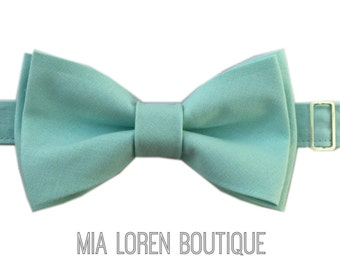 Aqua Bow Tie for Men or Boy's, Matte Cotton Bow Ties Made in the USA (Color AQUA)