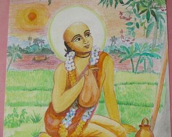 Indian saint original watercolour painting devotional paintings