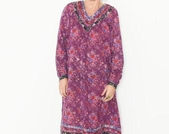 Vintage Floral Gauze Dress , BOHO Hippie Summer Dress