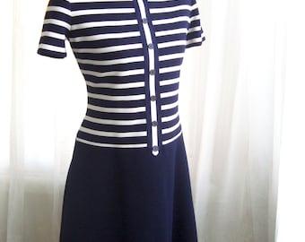 Mod Shift Dress, Super Cute Drop Waist Dress by Leslie Fay, Size Large
