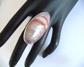 Agate Ring, Big agate ring, big ring, long ring, cabochon ring, white earthy ring, geode ring, oval ring, orange ring, gemstone ring, dragon