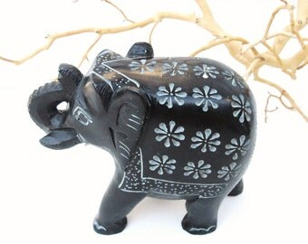 Vintage Elephant Figurine, Stone Sculpture, Elephant Statue, Soapstone Carving, Paperweight, Nursery Decor