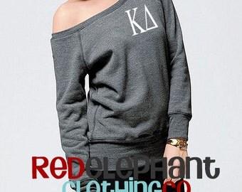 Kappa Delta Sweatshirt, Monogrammed Pullover, Monogrammed Off Shoulder Sweatshirt, Wide Neck Sweatshirt, Kappa Delta Pullover