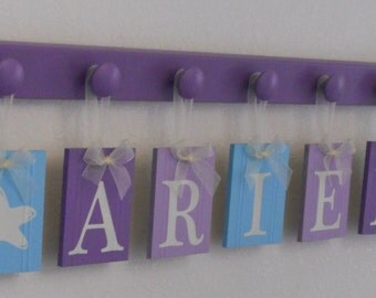 Starfish - Under The Sea - Personalized Hanging Name Sign Decor - Baby Girl Gift  - Custom Nursery Sea Decor