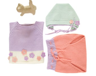 Knitted baby set. Sweater, diaper cover and cap. Pastel colors. Felt flowers. 100% merino wool. READY TO SHIP size newborn.