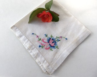 Antique Wedding Handkerchief- Something Blue-Something Old-Counted Cross Stitch-Hand Embroidered-Collectible-Gift Idea:  BBD-801