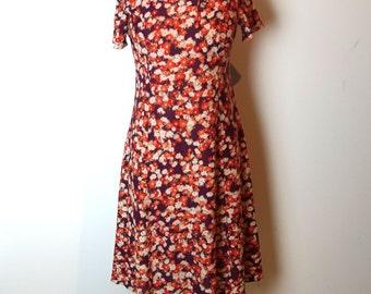 Vintage original 1970s orange and purple floral nylon midi dress