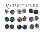 Mystery Earrings - Raw Crystal Studs, Mineral Earrings, Peacock Ore Studs, Raw Stone Earrings, Reiki Crystal, Grab Bag,  Gifts under 25