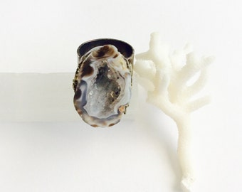 Geode Druzy Ring - Raw Crystal - Adjustable - Mineral Ring