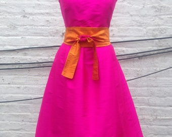 Hot Pink Retro-style Silk Shantung Party Dress with Pockets-Custom Made-to-Order