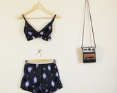 Black Purple and Pink Tie Dye Print Twin Set Crop Bralet and Shorts 90s Festival Hippy Cute Lolita 60s 70s