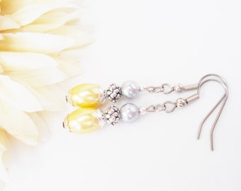 Gray Pearl Earrings Dangle Earrings Sterling Silver, Yellow Bridesmaids Earrings, Bridesmaids Gift, Clip On Earrings Wedding Jewelry, Mother