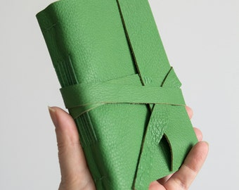 """4x6"""" Lined leather journal, green leather notebook, travel journal notebook, hand bound leather diary, leather sketchbook, blank book"""