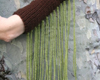 hand knitted arm warmers fringed