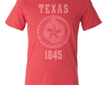Texas State Seal T-Shirt. Vintage Style State of Texas Unisex Men's Slim Fit and Women's Tee