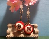 brown eyeball earrings handmade jewelry horror jewelry quirky earrings one of a kind jewelry fun earrings oddity jewelry Halloween earrings