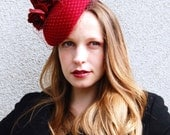 Deep Red Roses Felt Modern Cocktail Hat with Veil