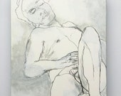 Original male nude painting // Male Nude no. 2 // original art on 5 x 7 panel // nude drawing illustration MATURE