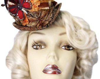 Brown Mini Top Hat Fascinator Butterfly Garden Victorian Steampunk Tea Party Cosplay