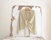 Summer Travel Shrug in Light Linen - Natural Oatmeal  - Wrap Shawl - Ready to Ship. Free Shipping