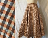 Vintage 1950s Quilted Gingham Full Circle Skirt Graphic Print PinUp Orange Black XS Plaid Square Geometric