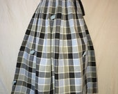 Vintage 1950's Blue Black Square Plaid Gingham Geometric Bow Leaf Novelty Print Circle Full Skirt SM Lace Trim Pettycoat