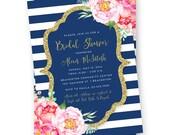 Navy Blue Bridal Shower Invitation, Navy and Gold Bridal Shower Invite, Navy and White Wedding Shower Invitation