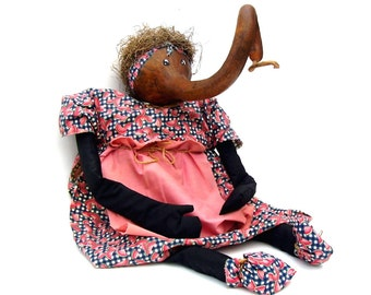 Vintage Doll Gourd Art Handmade Folk Art Black Americana Girl Rag Doll Funny Gourd Head