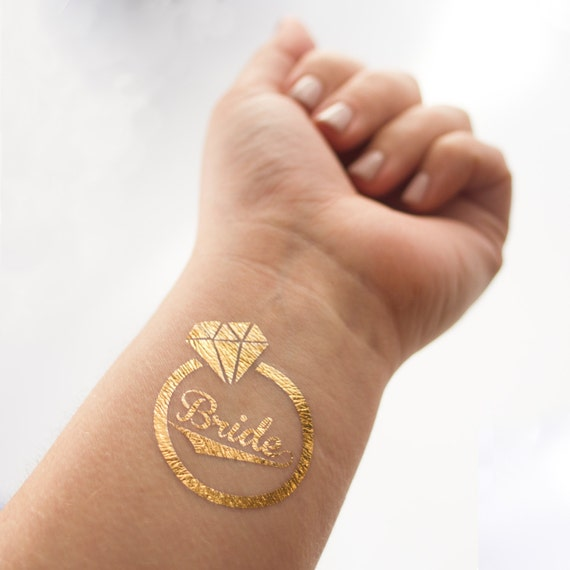 Gold bride temporary tattoo diamond ring individually for Gold foil tattoo