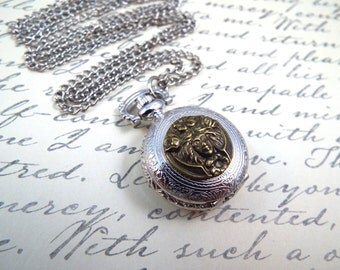 Petite Art Nouveau Pocket Watch Necklace -  Lady of the Lake - by Split Personality Designs