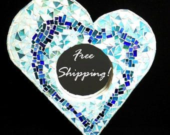 "Mirror Mosaic Heart Blue Mist by Cheri ""Chips of Color"""