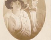 Edwardian Sweethearts- 1910s Antique Photograph- Portrait of Couple- Boyfriend Girlfriend- Real Photo Postcard- AZO RPPC- Paper Ephemera