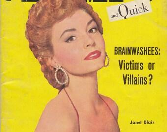 Brainwashees: Victims or Villains- 1950s Vintage Magazine- Tempo And Quick- September 20, 1955- Janet Blair- 50s Pin Ups- Paper Ephemera