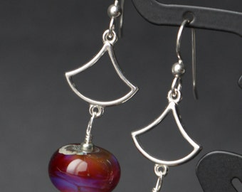 Beautiful Fall Purples Amber Browns Lampworking Sterling Silver Earrings