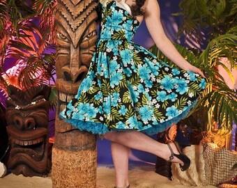 Hawaiian inspired pin up wing bust dress