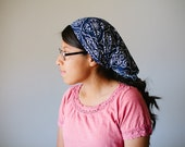 Navy Floral Long Stretch Knit Headcovering | Women's Headcovering Veil