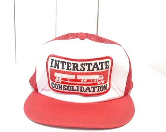 Vintage Trucker Hat 1980s Red White Trucking Company Interstate Consolidation Mesh Snap Back Hat